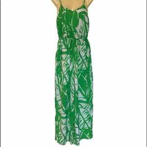 Lilly Pulitzer Green Leaf Print Jumpsuit Small